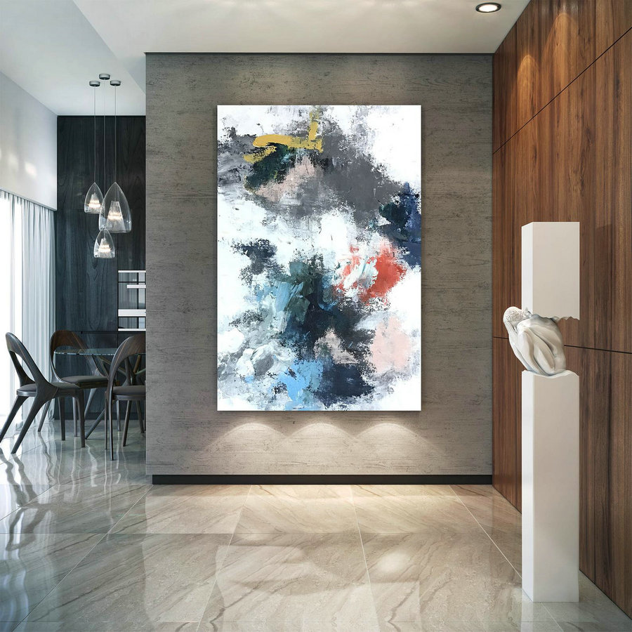 Large Abstract Painting,Painting Colorful,Abstract Decor,Large Interior Art,Modern Textured Art Dic055,Large Teal Canvas Art
