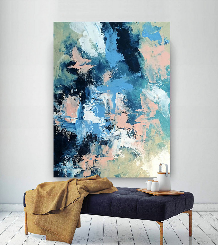 Large Painting On Canvas,Original Painting On Canvas,Painting Colorful,Abstract Painting,Huge Canvas Art,Acrylic Textured Art Dic046,Large Canvas Wall