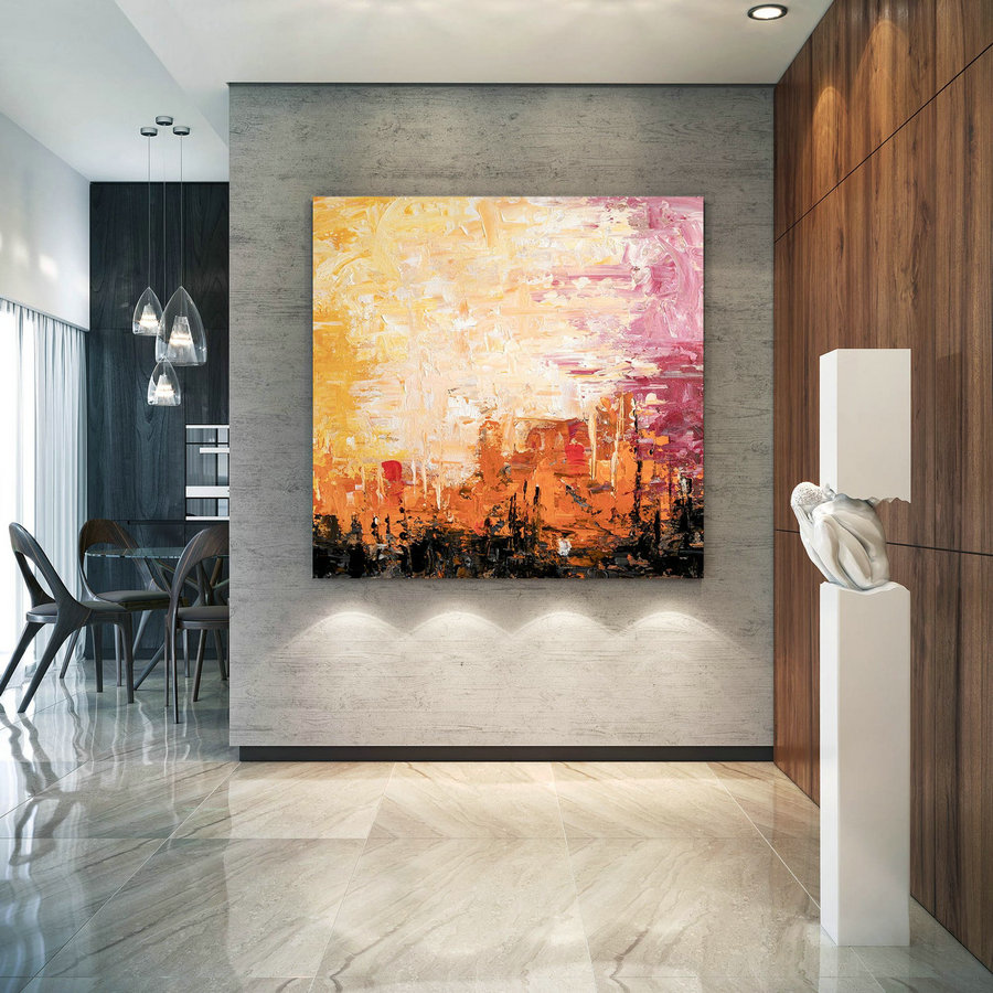 Large Abstract Painting,Bright Painting Art,Large Vertical Art,Colorful Abstract,Modern Textured Dic007,Oversized Abstract Art