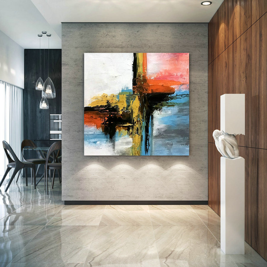 Large Modern Wall Art Painting,Large Abstract Painting On Canvas,Painting Colorful,Modern Oil Canvas,Bathroom Wall Art D2C022,Large Canvas Sets
