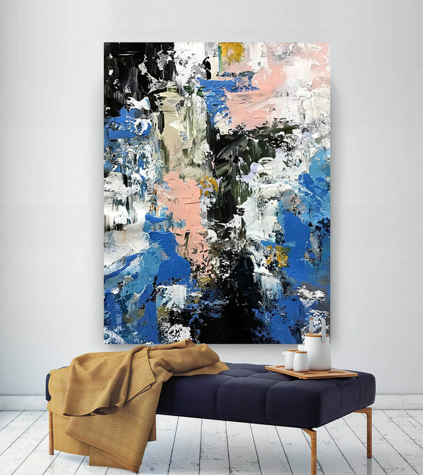 Original Canvas Wall Art - Wall Decor, Large Abstract Painting, Large Artwork, Home Decor, Living Room Decor, Contemporary Art #B2C012,Large Long Canvas