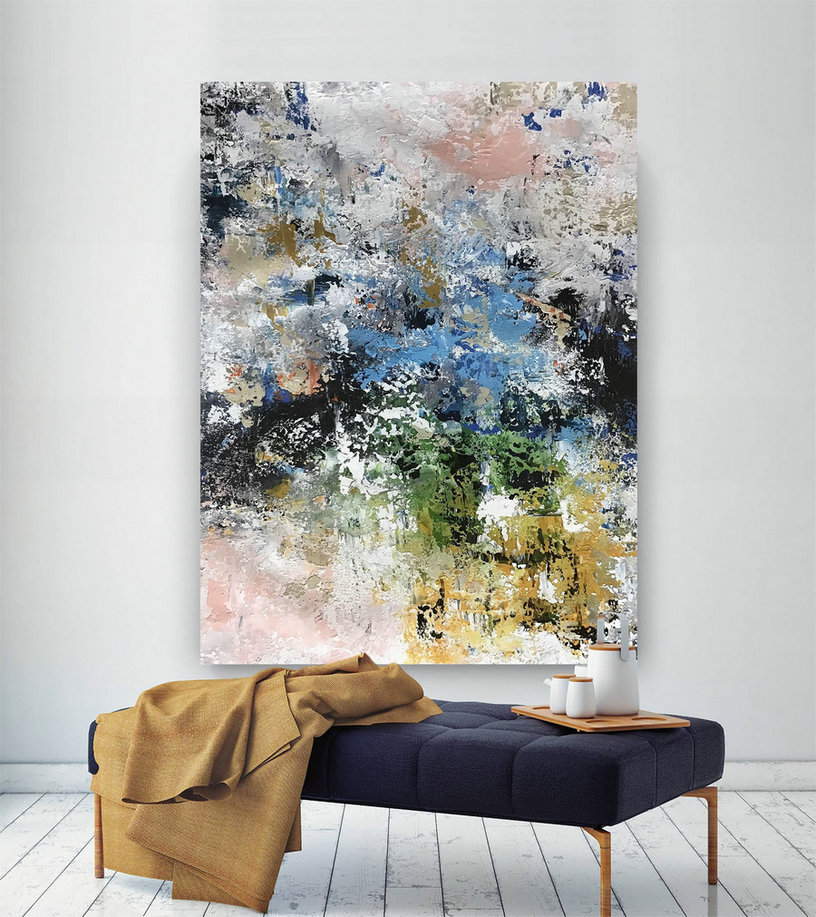 Large Painting On Canvas,Original Painting On Canvas,Bright Painting Art,Modern Abstract,Modern Oil Canvas,Original Textured Bnc085,Art Of Canvas Painting