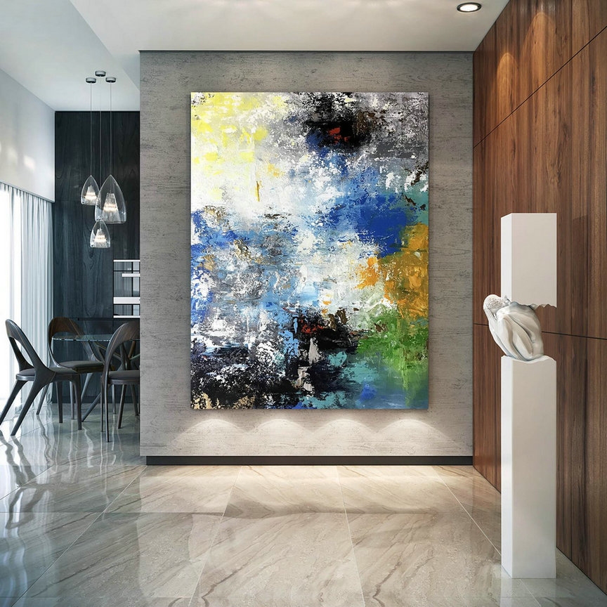Large Painting On Canvas,Original Painting On Canvas,Bright Painting Art,Home Decor Modern,Palette Knife Canvas Bnc083,Extra Large Photographic