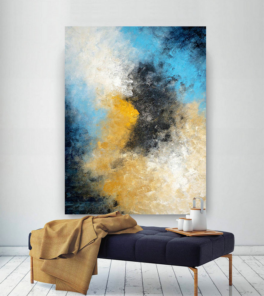 Large Abstract Wall Art,Original Abstract Wall Art,Abstract Painting,Modern Oil Canvas,Bathroom Wall Art,Textured Art Bnc045,Fine Arts