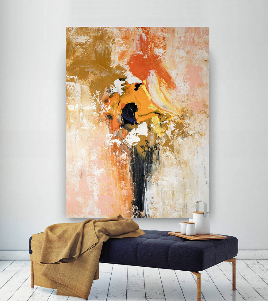 Large Abstract Painting,Painting Original,Abstract Decor,Extra Large Art,Modern Textured Bnc061,Oversized Vintage Art