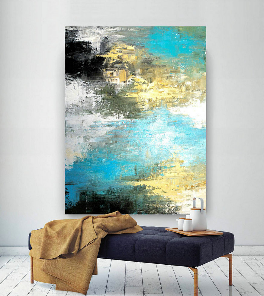 Large Modern Wall Art Painting,Large Abstract Painting On Canvas,Painting Colorful,Modern Oil Canvas,Bathroom Wall Art Dic022,Canvas Large Art