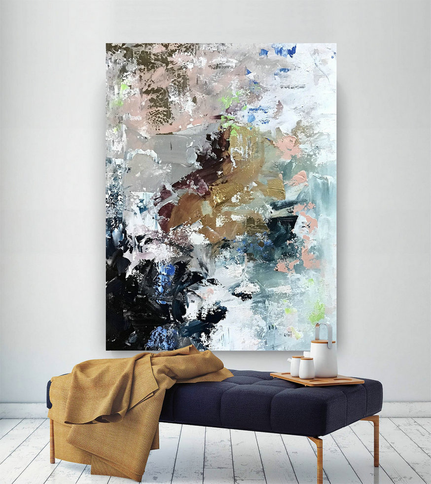 Original Abstract Canvas Art,Large Abstract Canvas Art,Huge Canvas Art,Acrylics Paintings,Xl Abstract Painting Bnc092,Oversized Stretched Canvas Art