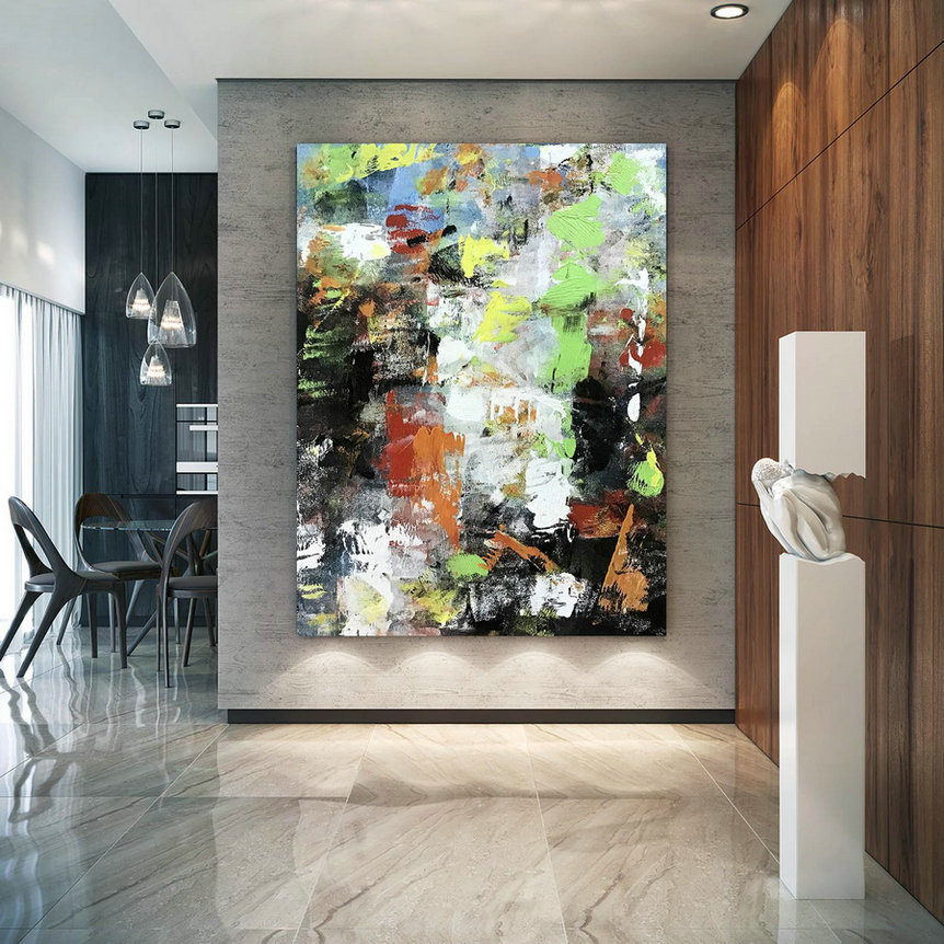 Large Abstract Painting,Modern Abstract Painting,Painting Wall Art,Bathroom Wall Art,Colorful Abstract,Large Textured Art Bnc091,Large Art Pictures