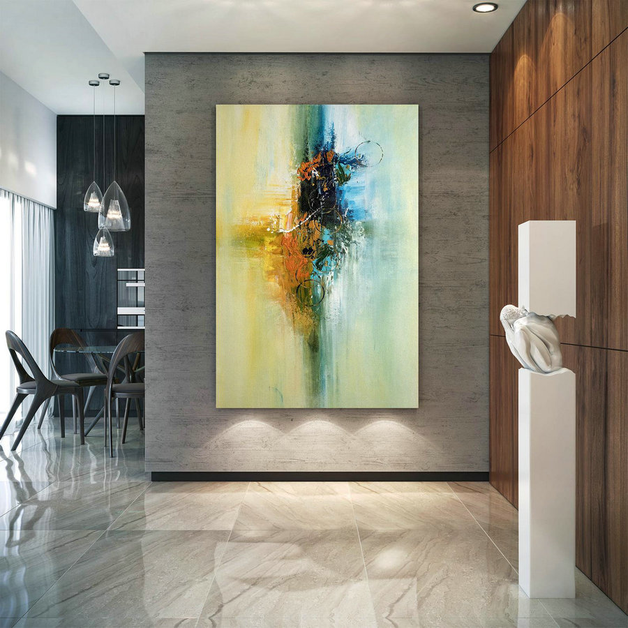 Large Abstract Canvas Art,Extra Large Abstract Canvas Art,Colorful Abstract,Huge Canvas Art,Large Interior Art Bnc004,Canvas Art Paintings Modern