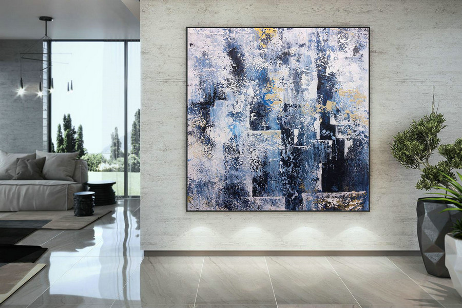 Extra Large Blue Grey White Painting , Modern Acrylic Painting On Canvas, Original Wall Art, Painting Modern, Large Paintings Dmc122,Oversized Custom Canvas