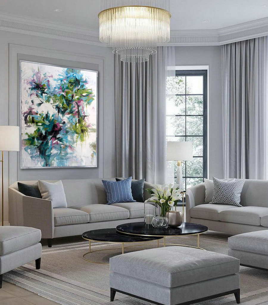 Modern Flower Oil Painting On Canvas Cozy Colorful Wall Art For Bed Dining Living Room,Canvas Art Direct