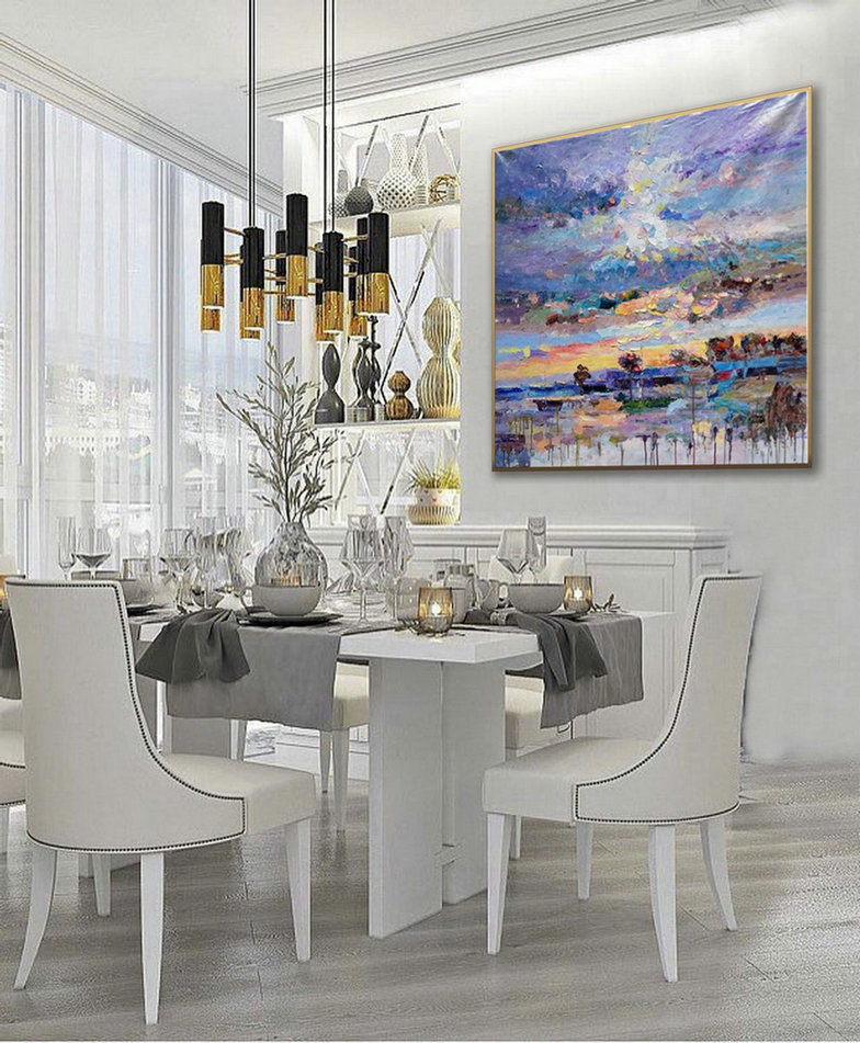 Thick Texture Contemporary Landscape Seascape Hand Painted Modern Palette Knife Textured Abstract Panoramic Oil Painting On Canvas Wall Art,Art Reproductions On Canvas