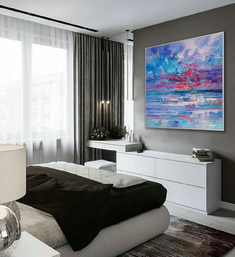 Thick Texture Contemporary Landscape Seascape Hand Painted Modern Palette Knife Textured Abstract Panoramic Oil Painting On Canvas Wall Art,Photography Canvas Wall Art
