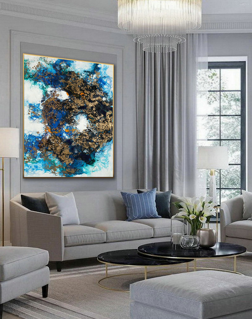Hand Painted Large Modern Gold Fluid Art Acrylic Abstract Wall Art Painting On Canvas For Dining Living Room Office Decor Art Work,Discount Oversized Art
