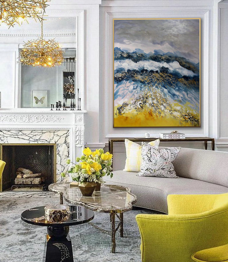 Hand Painted Large Modern Gold Fluid Art Acrylic Abstract Wall Art Painting On Canvas For Dining Living Room Office Decor Art Work,Prints On Canvas For Sale Large