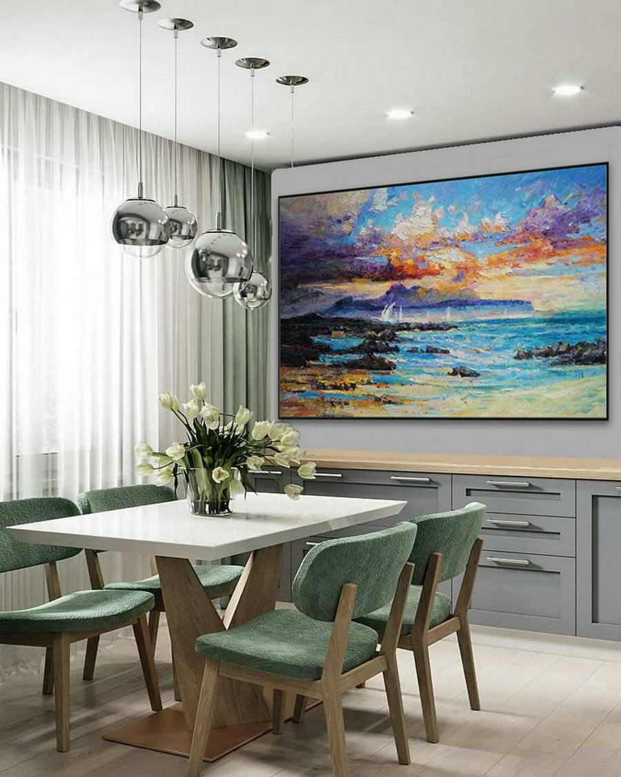 Modern Seascape Contemporary Abstract Wall Art Coastal Beach Sea Sailing Panoramic Palette Knife Thick Oil Painting On Canvas 48X72Inch,Digital Photos To Canvas Large