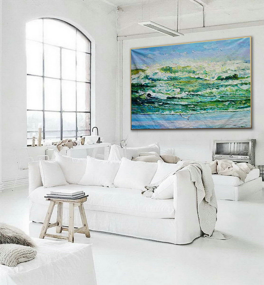 Modern Seascape Contemporary Abstract Wall Art Coastal Beach Sea Waves Panoramic Palette Knife Thick Oil Painting On Canvas 48X72Inch,Super Size Wall Art