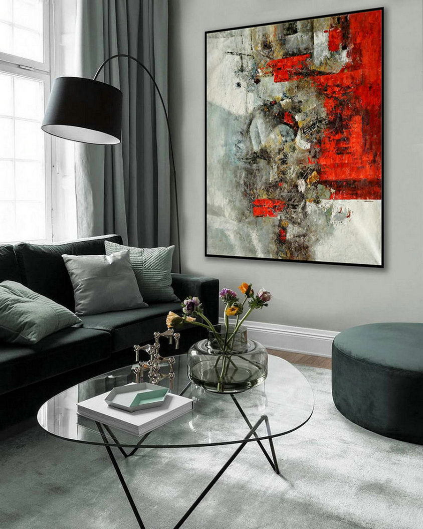 Colorful Large Abstract Wall Art Hand Painted Bright Color Palette Knife Thick Acrylic Vertical Painting On Canvas 48X60Inch /120X150Cm,Giant Canvas Photos