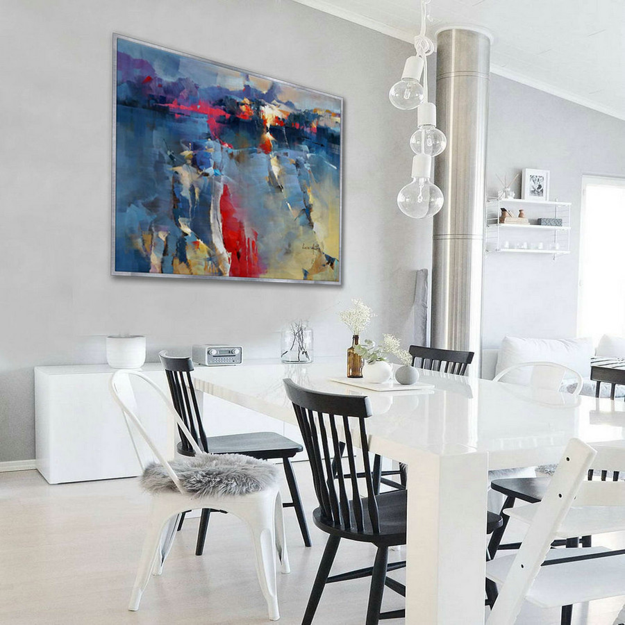 Colorful Bright Light Color Large Modern Seascape Beach Coastal Oil Painting Canvas For Bed Dining Living Room Office Wall Art,Oversized Wall Pictures