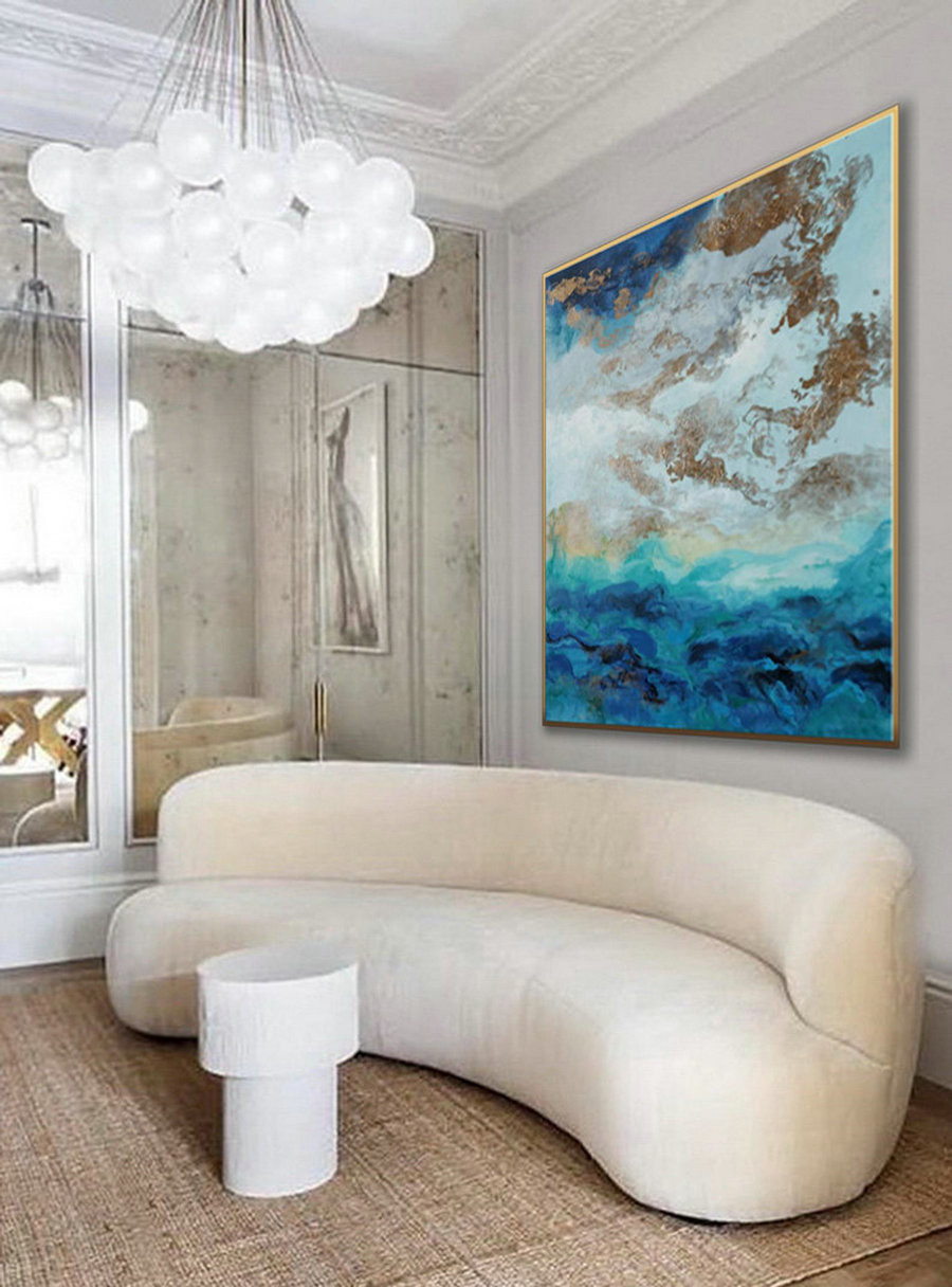 Hand Painted Large Modern Gold Fluid Art Acrylic Abstract Wall Art Painting On Canvas For Dining Living Room Office Decor Art Work,Wall Sized Art