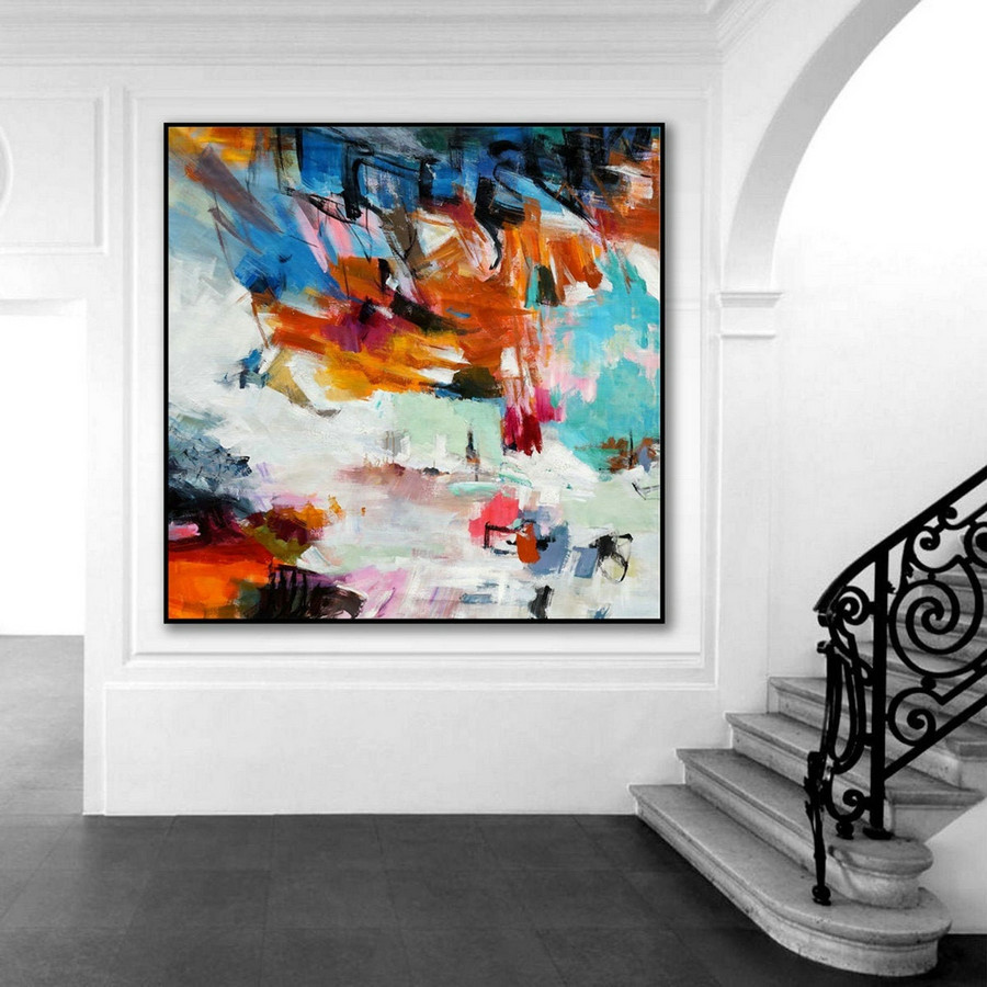 Bright Color Brush Strokes Contemporary Artwork Large Square Colorful Modern Abstract Wall Art Hand Painted Acrylic Painting On Canvas,Oversized Original Paintings