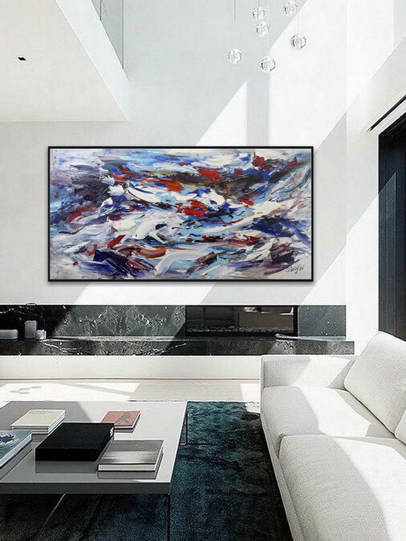 Colorful Thick Oil Abstract Super Extra Large Oversize Panoramic Canvas Modern Wall Art Hand Made Bright Color Original Oil Painting,Discount Canvas Paintings