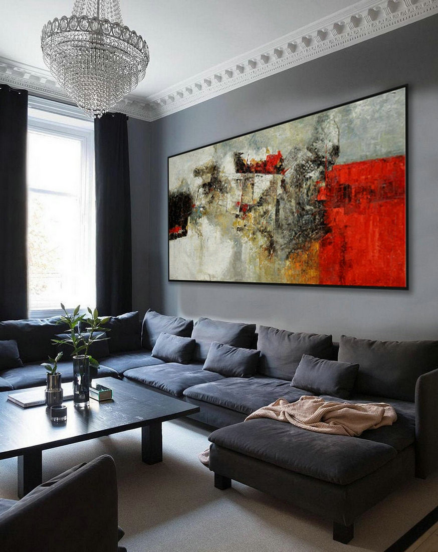 Super Extra Large Oversize Panoramic Canvas Modern Wall Art Hand Made Abstract Oil Painting Living -Dinner Room Office Hotel,Extra Large White Canvas