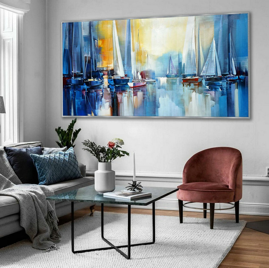 Regatta Seascape Sailing Boat Sailboat Yachting Hand Painted Modern Impressionist Oil Painting On Canvas Living Room Office Hotel Wall Art,Extra Large Modern Art