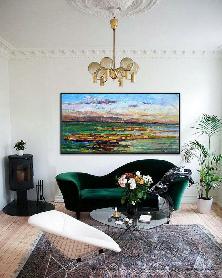Contemporary Abstract Wall Art Modern Panoramic Landscape Seascape Painting Handmade Textured Art Oil Painting On Canvas,Extra Long Canvas