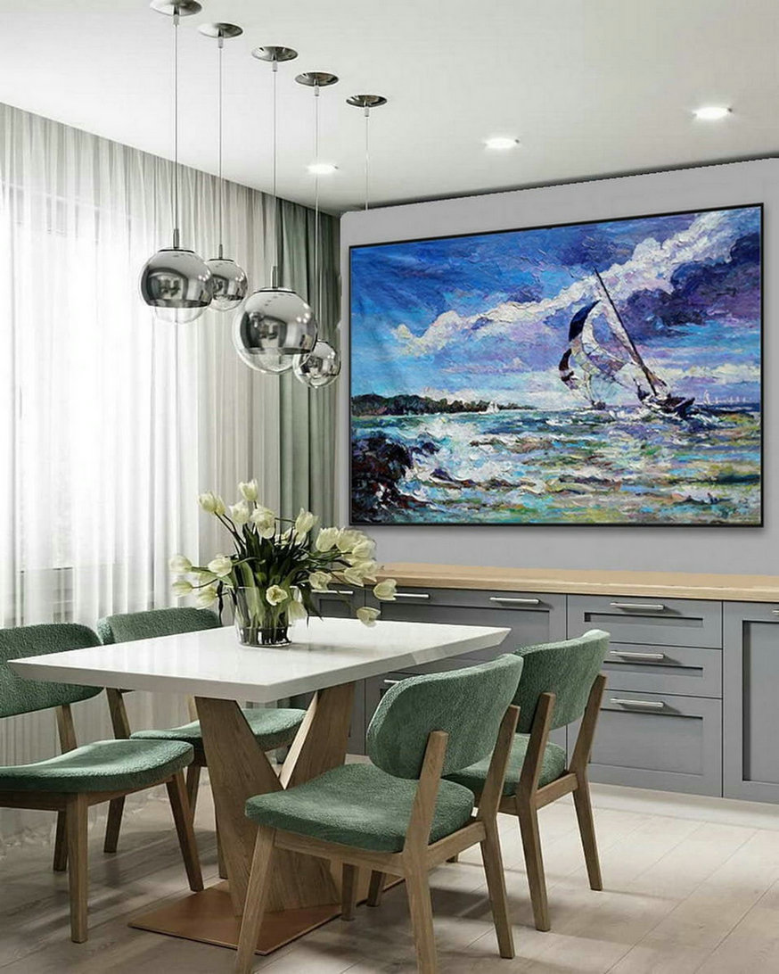 Modern Seascape Contemporary Abstract Wall Art Coastal Beach Sea Sailing Boat Panoramic Palette Knife Thick Oil Painting On Canvas,Large Modern Canvas Paintings