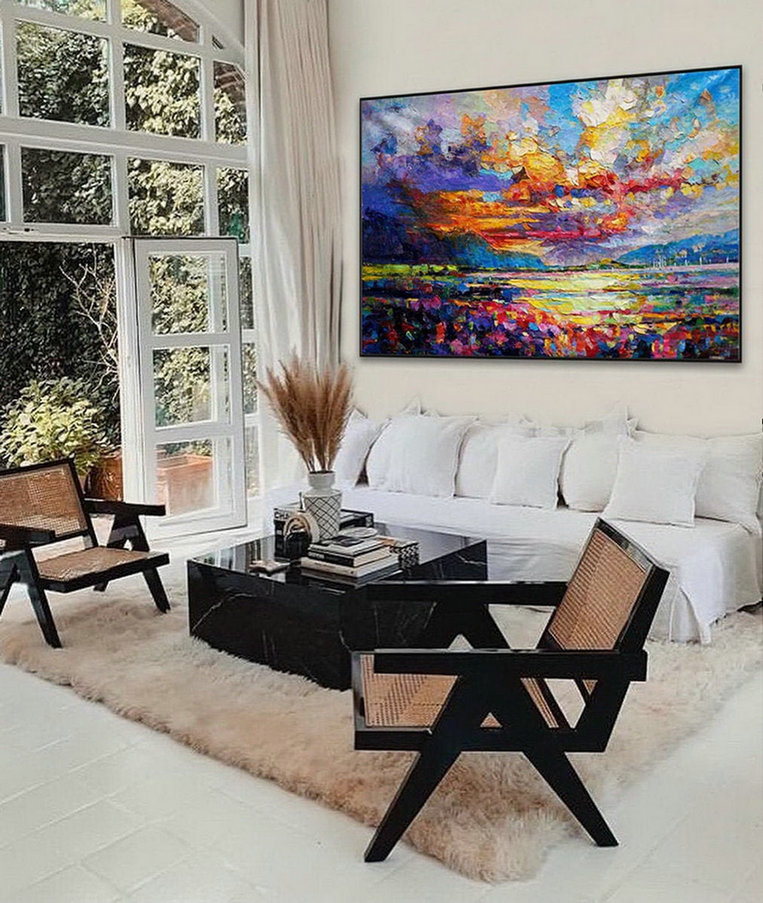 Modern Seascape Contemporary Abstract Wall Art Coastal Beach Sea Sunset Sunrise Panoramic Palette Knife Thick Oil Painting On Canvas,Large Wall Paintings