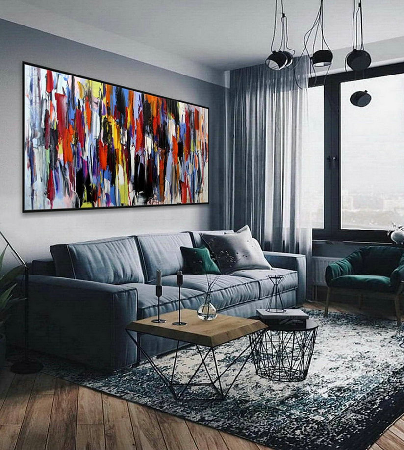 Colorful Thick Oil Abstract Super Extra Large Oversize Panoramic Canvas Modern Wall Art Hand Made Bright Color Original Oil Painting,Modern Art Wall Canvas