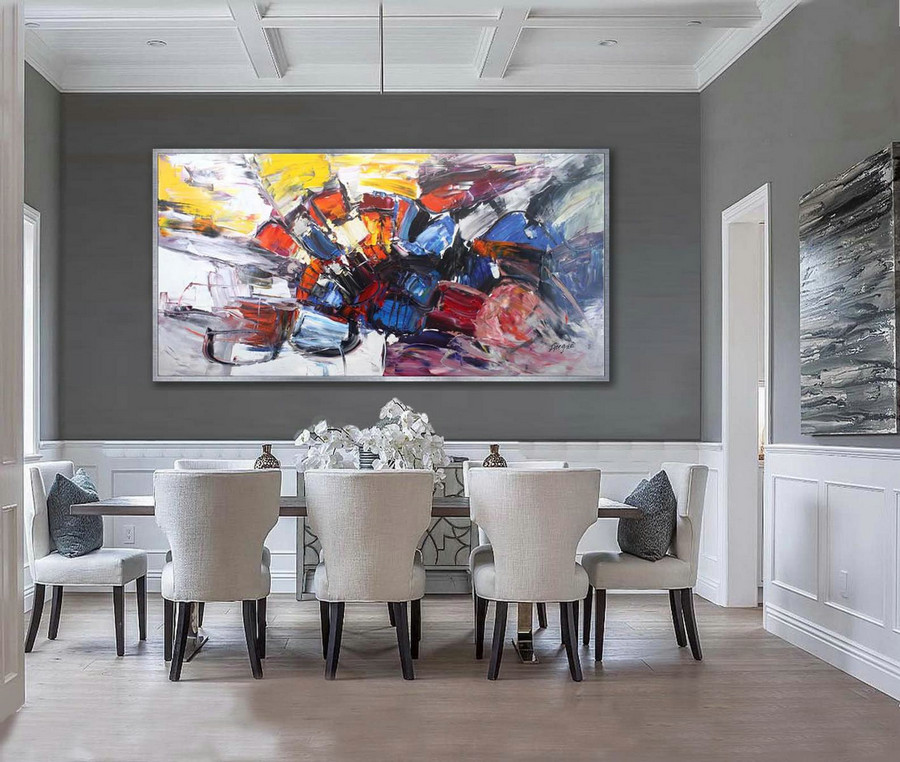 Colorful Thick Oil Abstract Super Extra Large Oversize Panoramic Canvas Modern Wall Art Hand Made Bright Color Original Oil Painting,Art Of Canvas Painting