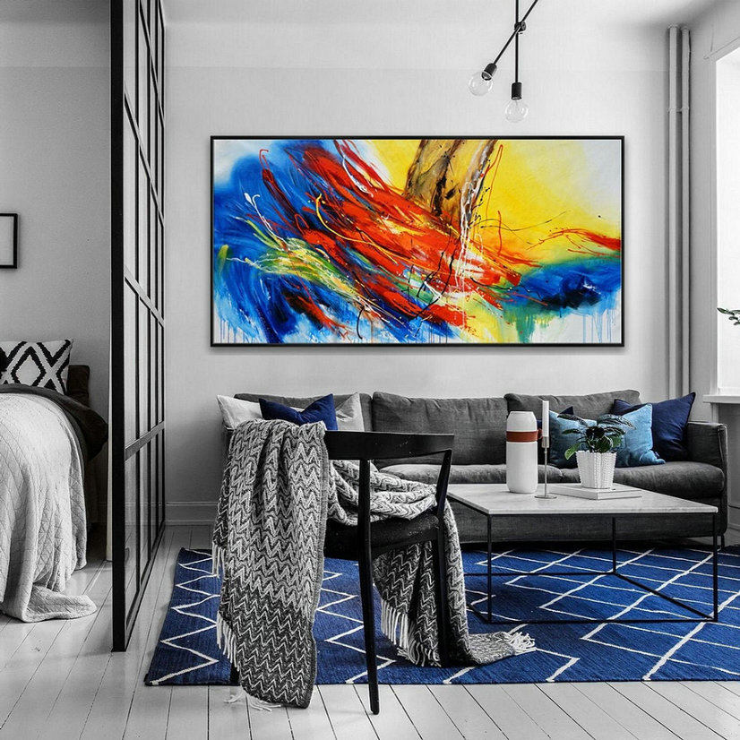 Hand Painted Texture Abstract Panoramic Canvas Modern Wall Art Super Extra Large Oversize Acrylic Painting Living Dinner Room,Abstract Canvas For Sale