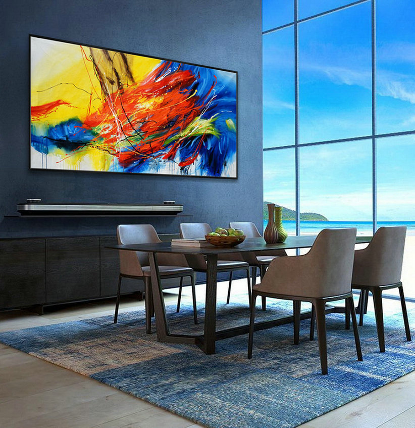 Hand Painted Texture Abstract Panoramic Canvas Modern Wall Art Super Extra Large Oversize Acrylic Painting Living Dinner Room,Big Wall Pictures For Sale