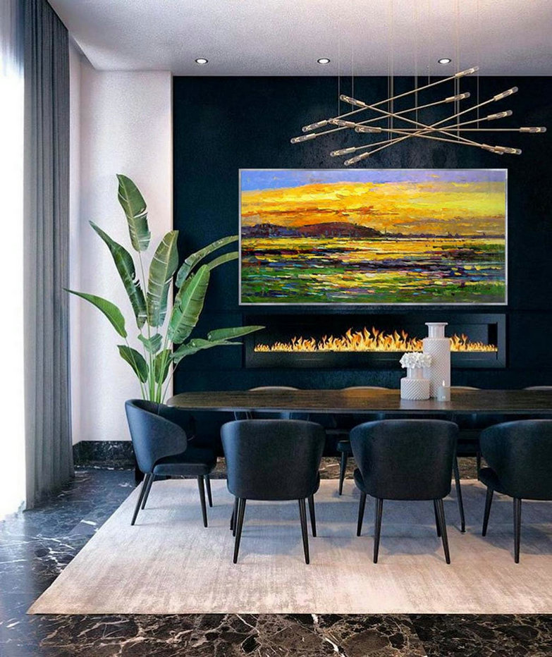 Contemporary Abstract Wall Art Modern Panoramic Landscape Seascape Painting Handmade Textured Art Oil Painting On Canvas,Giant Pictures For Walls