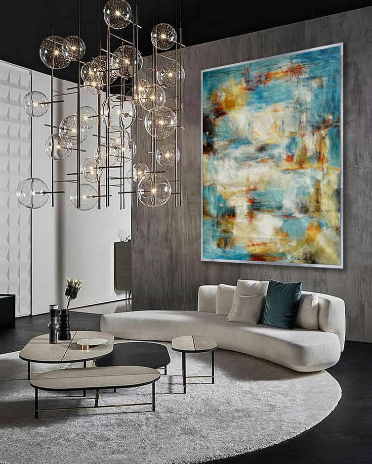 Modern Abstract Super Extra Large Oversize Vertical Canvas Wall Art Hand Made Oil Painting For Cozy Living Dinner Room Office,Large Canvas Art Work