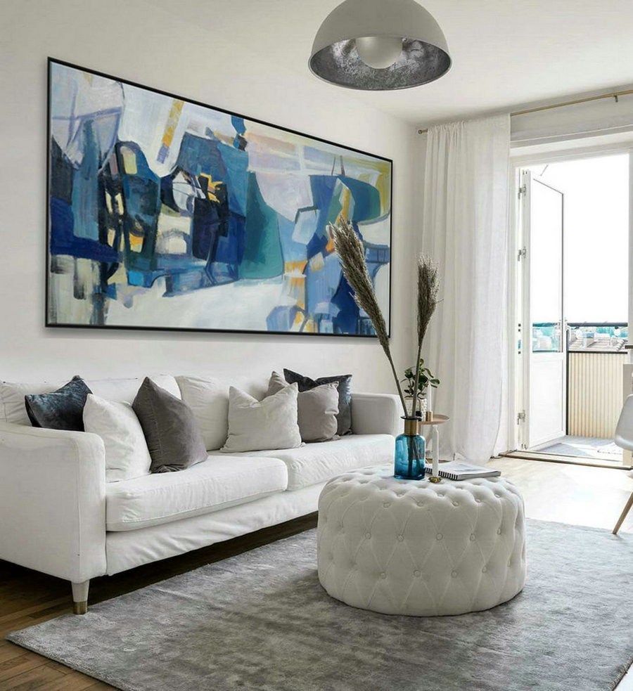 White Blue Modern Contemporary Artwork Large Horizontal Panoramic Abstract Wall Art Brush Strokes Acrylic Painting On Canvas 36 X 72Inch,Large Art Pieces