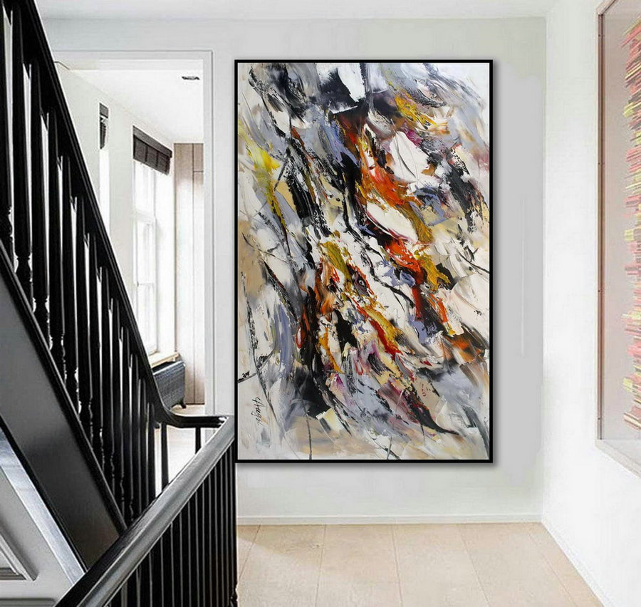 Modern Contemporary Abstract Wall Art Palette Knife Thick Colorful Oil Painting On Canvas 48 X 72Inch / 120X180Cm,Extra Large Black And White Art