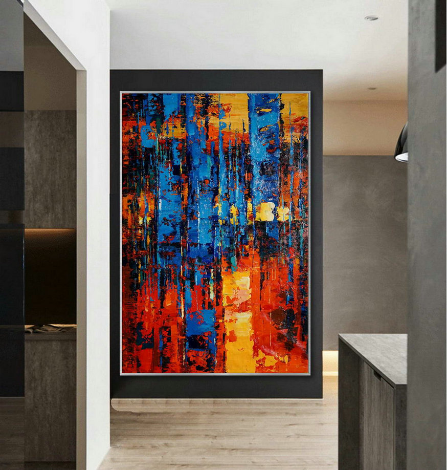Large Colorful Vertical Modern Contemporary Abstract Wall Art Palette Knife Thick Strong Color Oil Painting Artwork On Canvas 48 X 72,Canvas Art Images