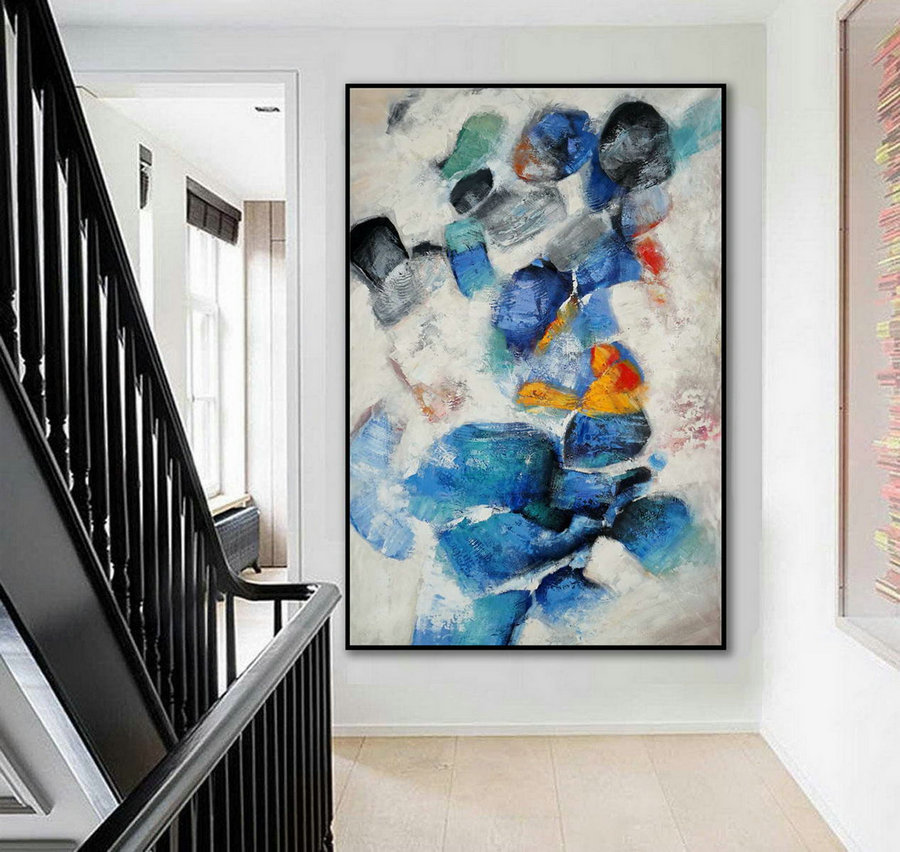 Extra Large Colorful Vertical Modern Artwork Contemporary Abstract Wall Art Thick Texture Acrylic Painting On Canvas 48 X 72Inch /180Cm,Oversized Pictures For Living Room