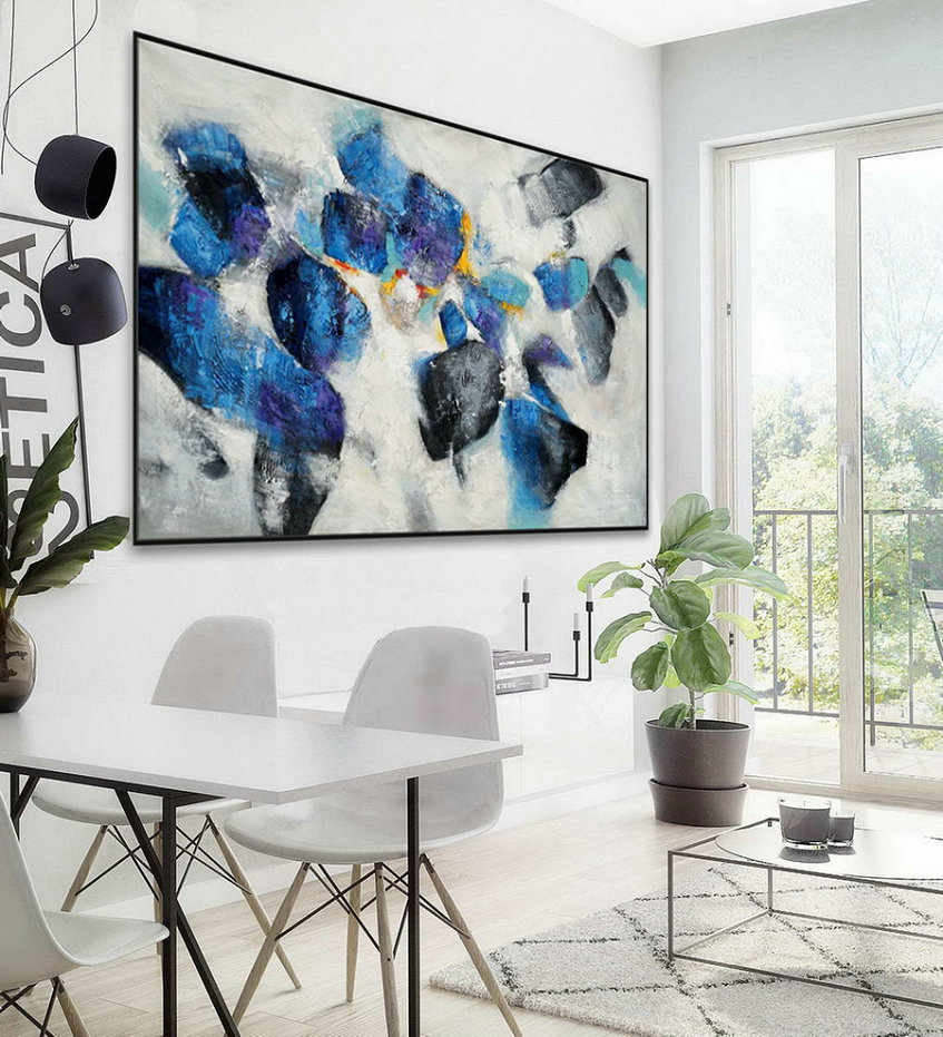Extra Large Horizontal Modern Contemporary Abstract Wall Art Thick Texture Acrylic Painting Artwork On Canvas 48 X 72Inch / 120X180Cm,Oversized Wall Art Canada