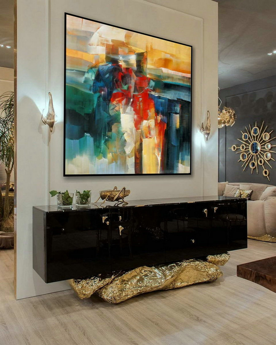 Bright Color Brush Strokes Contemporary Artwork Extra Large Square Colorful Modern Abstract Oversize Wall Art Hand Made Canvas Oil Painting,Large Inexpensive Artwork