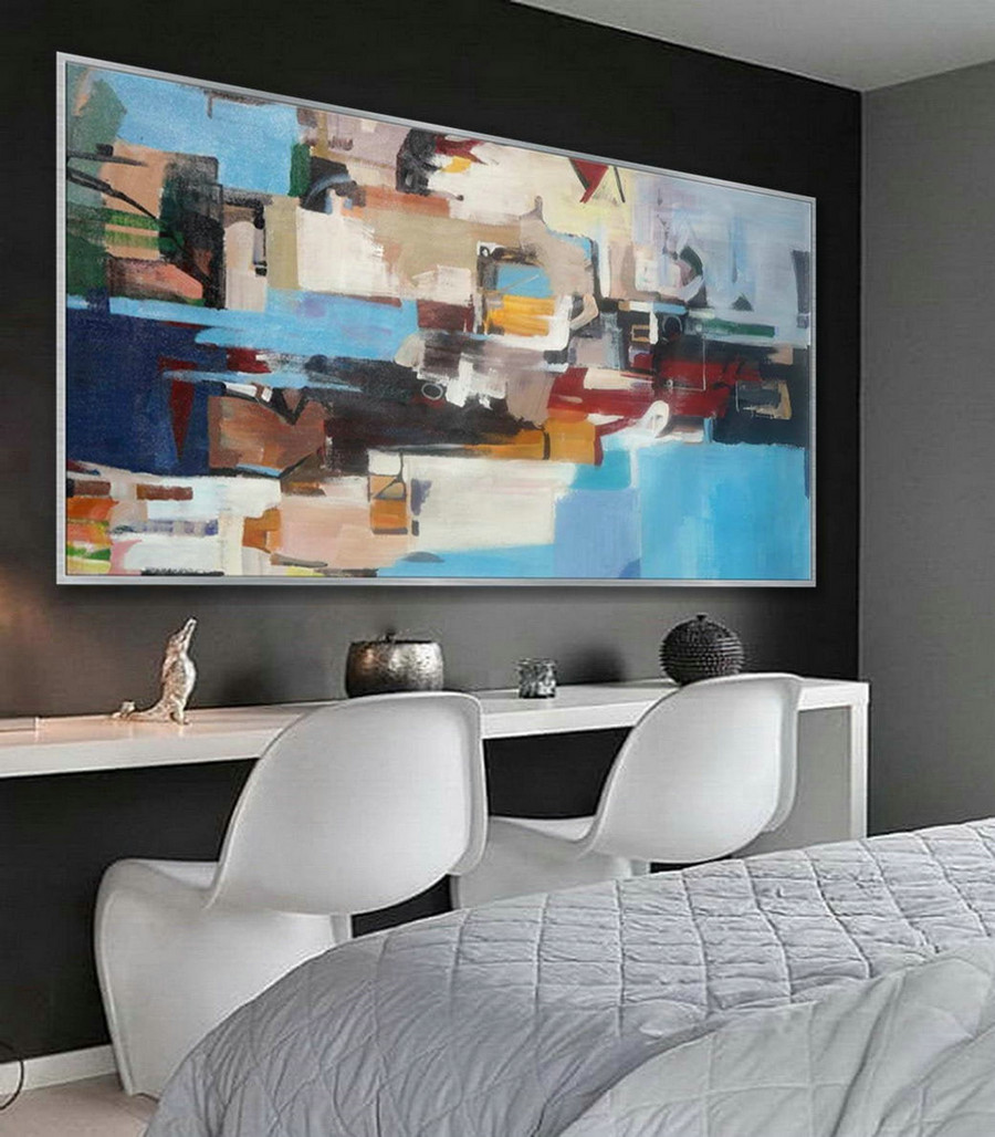 Bright Colorful Modern Contemporary Artwork Large Horizontal Panoramic Abstract Wall Art Brush Strokes Acrylic Painting On Canvas ,Extra Large Photographic