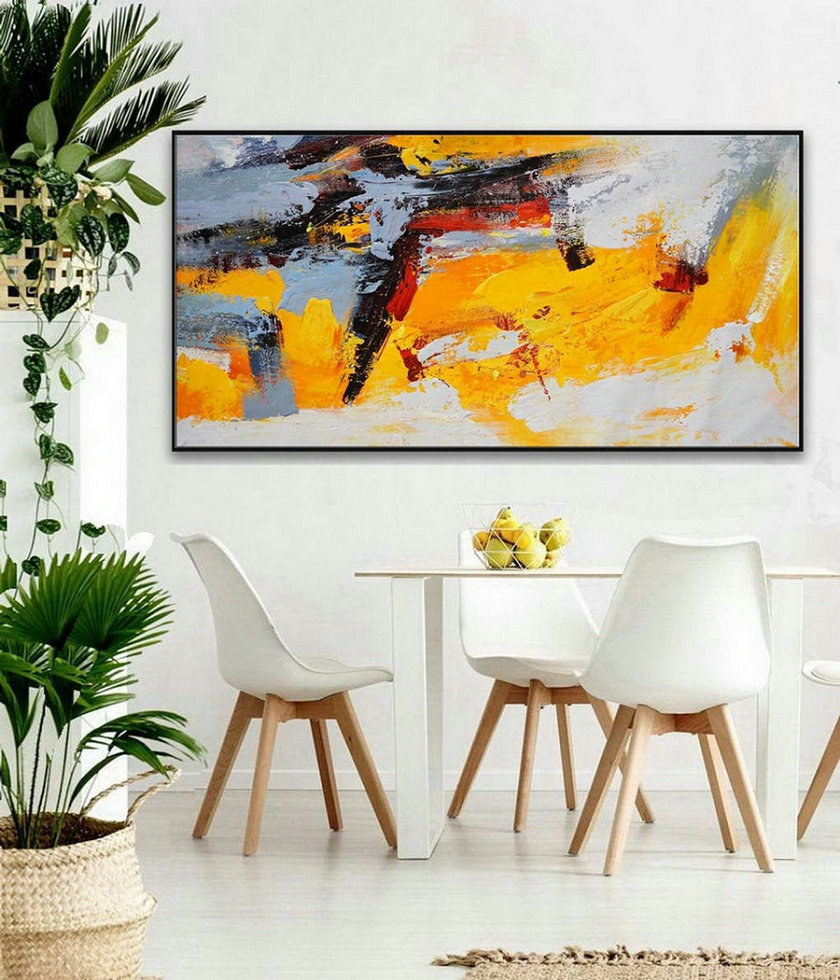 Modern Contemporary Palette Knife Art Work Long Slim Large Panoramic Horizontal Thick Texture Acrylic Abstract Wall Art Painting,Cheap Large Canvas Pictures