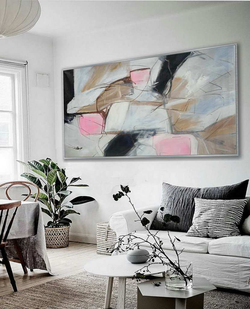 Soft Tone Colors Modern Contemporary Artwork Large Horizontal Panoramic Abstract Wall Art Brush Strokes Acrylic Painting On Canvas ,6Ft Canvas Wall Art