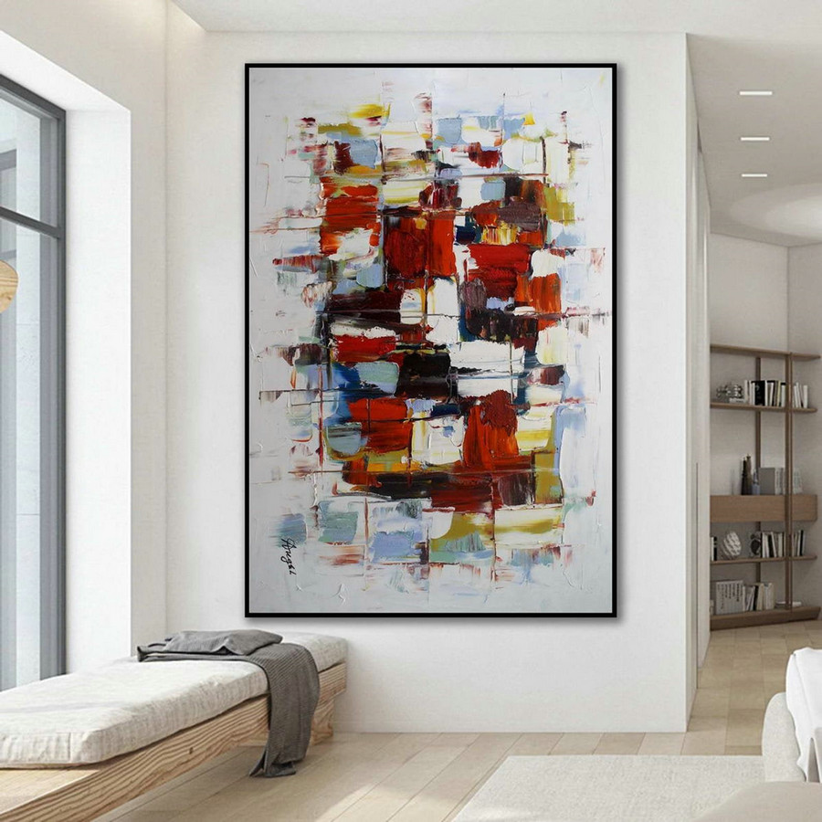 Modern Contemporary Abstract Wall Art Palette Knife Thick Colorful Oil Painting On Canvas 48 X 72Inch / 120X180Cm,Large Canvas Art Framed