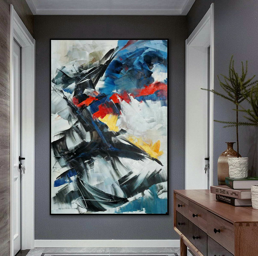 Beautiful Bright Color Modern Abstract Wall Art Decor Extra Large Colorful Contemporary Brush Strokes Vertical Canvas Oil Painting ,Black Canvas Painting