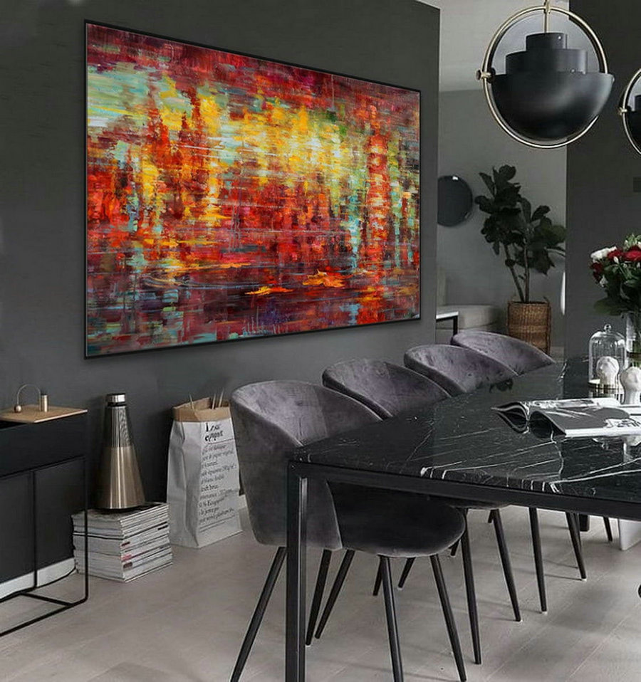 Extra Large Colorful Horizontal Modern Contemporary Abstract Wall Art Palette Knife Thick Strong Color Oil Painting Canvas Artwork,Oversized Art Canada