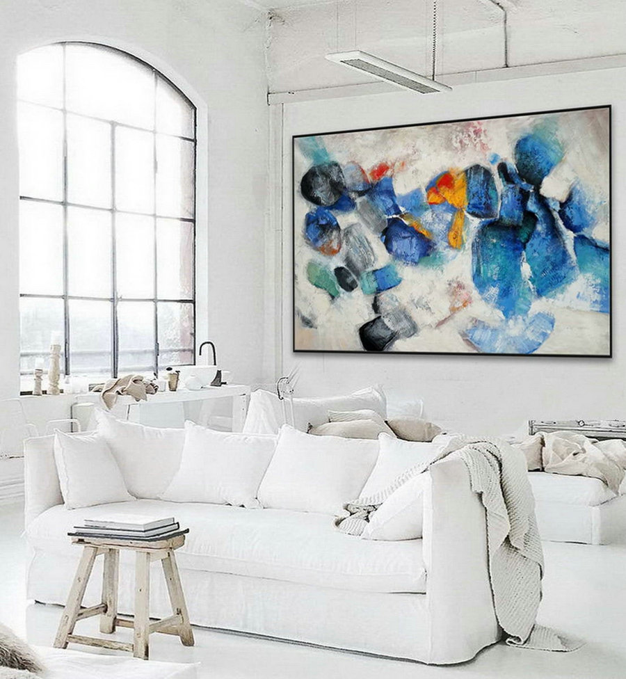 Extra Large Horizontal Modern Contemporary Abstract Wall Art Thick Texture Acrylic Painting Artwork On Canvas 48 X 72Inch / 120X180Cm,Canvas To Art